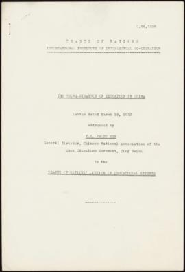 """The Reorganisation of Education in China"". Letter dated March 15, 1933, addressed by Y..."