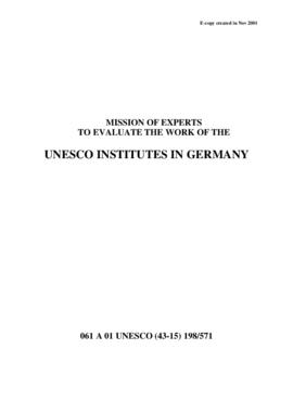 Mission of Experts to Evaluate the Work of the UNESCO Institutes in Germany