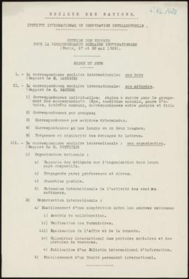 Réunion des Experts pour la Correspondance scolaire internationale, Paris, 27-28 mai 1929 - Ordre...