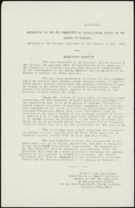 Resolution of the Sub-Committee on Intellectual Rights of the League of Nations. (Adopted by the ...