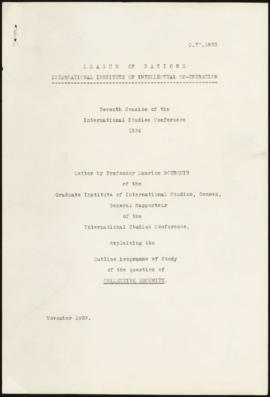 Seventh Session of the International Studies Conference, 1934 - Letter by Prof. M. Bourquin, expl...