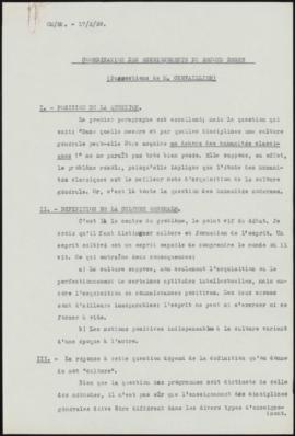 Coordination des Enseignements du Second Degré (Suggestions de M. Chevaillier)