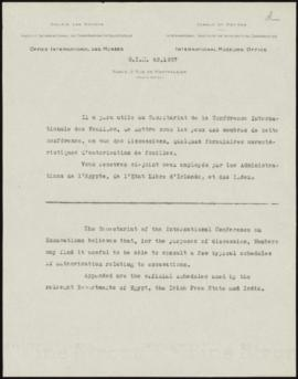 [Accompanying letter for the second batch of documents sent to Participants of the International ...