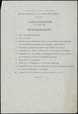 Comité d'Experts Archivistes 2-3 Avril 1931, liste des Documents distribués