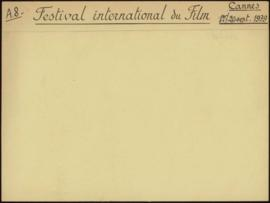 Festival international du film, Cannes, 1er - 20 septembre 1939