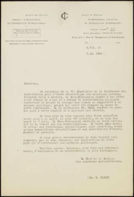 Lettre du Chef de la Section des Relations Universitaires, Dr. W. Picht