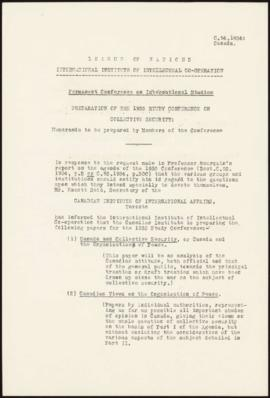Preparation of the 1935 Study Conference on Collective Security - Memorandum - Canada