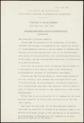 Comité d' Experts Bibliothécaires. (4-6 juin 1931) Bibliographie internationale des traductions. ...