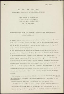 Fifth Meeting of the Directors of National Offices, Paris, April 25-26th 1930 - Remarks submitted...