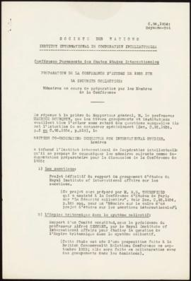 Preparation of the 1935 Study Conference on Collective Security - Memorandum – United Kingdom