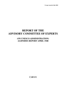 Report of the Advisory Committee of Experts (on Unesco Administration) - Aghnides report