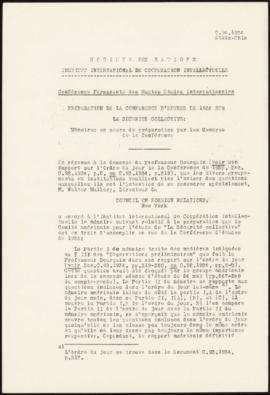 Preparation of the 1935 Study Conference on Collective Security - Memorandum – United States
