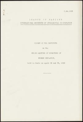 Second Meeting of Directors of Higher Education, Paris, April 28-29, 1933 - Report of the Institute