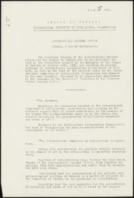 I - Resolution adopted by the Assembly of the League of Nations relating to various problems of i...
