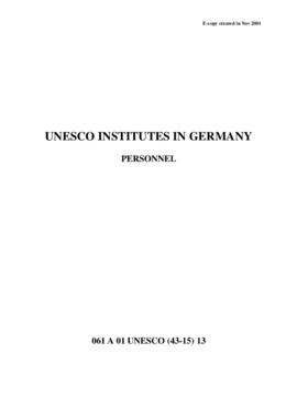 UNESCO Institutes in Germany - Personnel