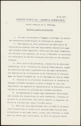 Propiété Scientifique - Convention Internationale. Projet éventuel de M. Ostertag. Quelques ligne...