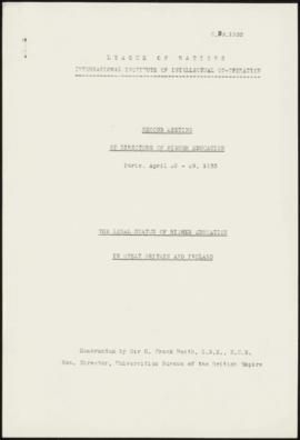 Second Meeting of Directors of Higher Education , Paris, April 28-29, 1933 - The Legal Status of ...