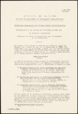 Preparation of the 1935 Study Conference on Collective Security - Memorandum – Austria