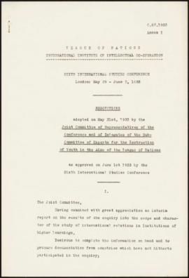 Sixth Session of the International Studies Conference, London, May 29th - June 2nd, 1933 - Resolu...