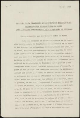 Relations de la Commission et de l'Institut internationaux de Coopération Intellectuelle de Paris...