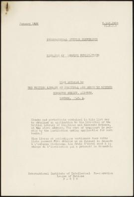 Exchange of Surplus Publications. List offered by the British Library of Political and Economic S...