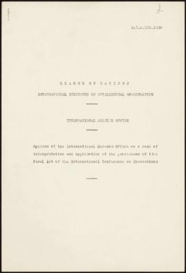Opinion of the I.M.O. on a case of interpretation and application of the provisions of the Final ...