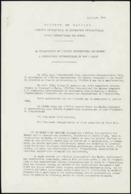 La Collaboration de l'Office International des Musées à l'Exposition Internationale de 1937 à Paris