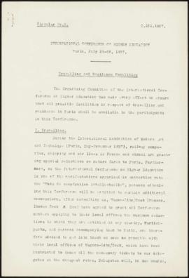 International Conference on Higher Education, Paris, July 26-28, 1937 - Travelling and Residence ...