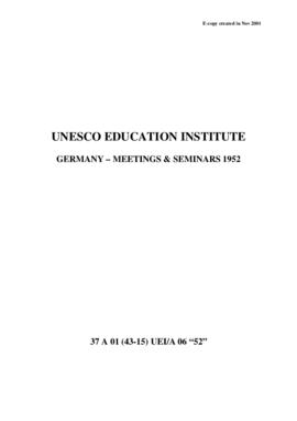 UNESCO Education Institutes – Germany – Meetings & Seminars 1952