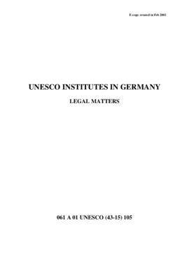 UNESCO Institutes in Germany - Legal Matters