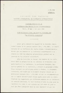 Seventh Session of the International Studies Conference, Paris, 30th May-1st June, 1934 - Plan of...