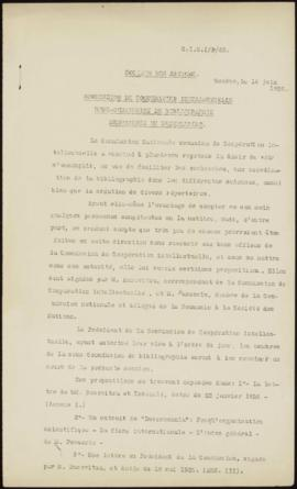 Commission de Cooperation Intellectuelle. Sous-Commission de Bibliographie. Mémorandum de Mme Cur...