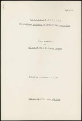 Study Committee on The New Theories in Modern Physics. Report by Professor E.A. Milne. Warsaw, Ma...