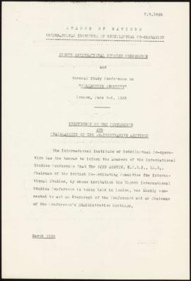 Eighth International Studies Conference London, June 3-8, 1935. Presidency of the Conference and ...