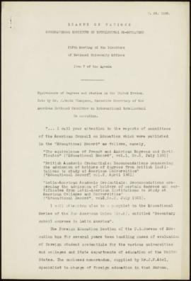 Fifth Meeting of the Directors of National Offices, Paris, April 25-26th 1930 - Equivalence of de...
