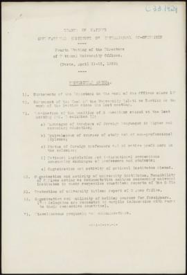 Fouth Meeting of the Directors of National University Offices, Paris, April 11-12, 1929 - Provisi...