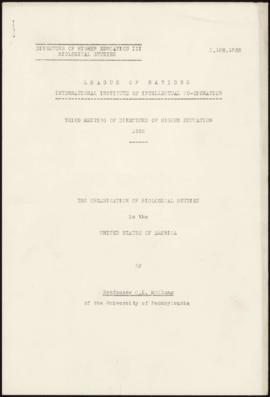 Third Meeting of Directors of Higher Education, Paris, 3-4 May, 1935 - The Organization of Biolog...