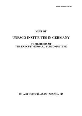 Visit of UNESCO Institutes in Germany by Members of the Executive Board Subcommittee