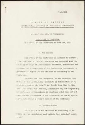 Sixth Session of the International Studies Conference, London, May 29th - June 2nd, 1933 - Condit...