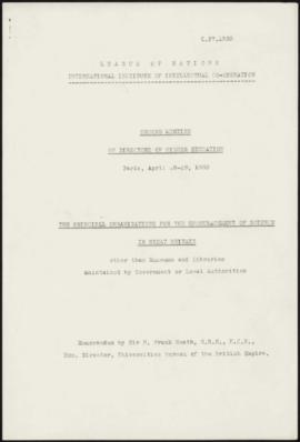 Second Meeting of Directors of Higher Education - Memorandum by Sir H. Frank Heath: The Principal...