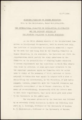 Standing Committee on Higher Education - Note by the Secretariat, dated Nov, 15th, 1939 - The I.C...