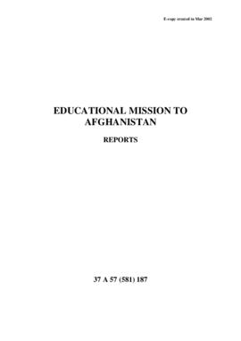 Educational Mission to Afghanistan - Reports