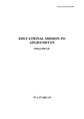Educational Mission to Afghanistan – Follow-up