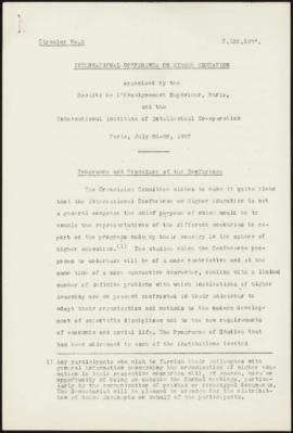 International Conference on Higher Education, Paris, July 26-28, 1937 - Programme and Procedure o...