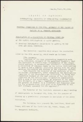 Proposals submitted to the XVth. Assembly of the League of Nations by M. Roberto Levillier - Publ...