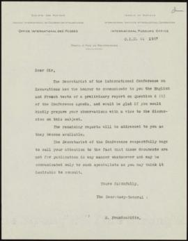 [First accompanying letter signed by E. Foundoukidis, for the first batch of documents sent to Pa...