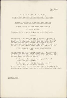 Preparation of the 1935 Study Conference on Collective Security - Memorandum - Italy
