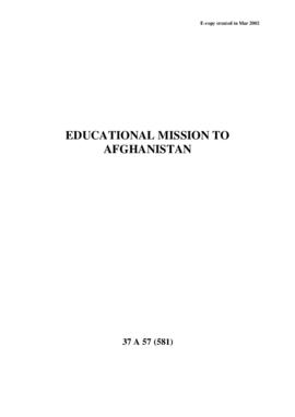 Educational Mission to Afghanistan