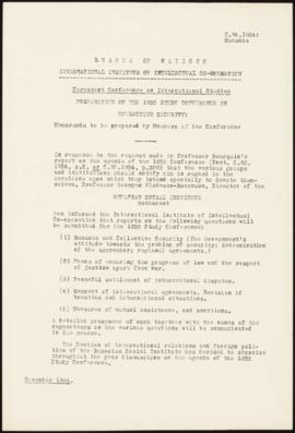 Preparation of the 1935 Study Conference on Collective Security - Memorandum - Rumania
