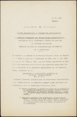 Preparation of the 1935 Study Conference on Collective Security - Memorandum – Spain
